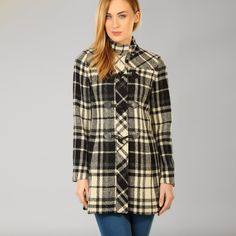 Chic and smart this Black and Cream Check Tweed Duffle Coat by Triona is lightweight and durable whilst also being warm and cosy; a must have for your wardrobe. Tweed Coat, Wool Coat, Duffle Coat, Black Cream, Winter Coat, Coats For Women, Dress Up, Plaid, Donegal