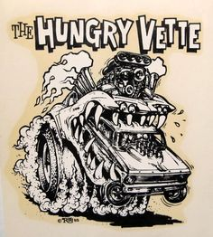 """Ed """"Big Daddy"""" Roth's Monster Car Illustrations Cool Car Drawings, Colorful Drawings, Cartoon Drawings, Ed Roth Art, Monster Car, Monster Trucks, Rat Fink, Car Illustration, Big Daddy"""