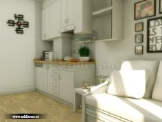 Infografiía 3d de la cocina de estudio interior en centro de Gijón www.nddiseno.es