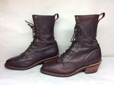 MENS CHIPPEWA WORK BULLHIDE LEATHER BURGUNDY BOOTS SIZE 11.5 D #Chippewa #WorkSafety