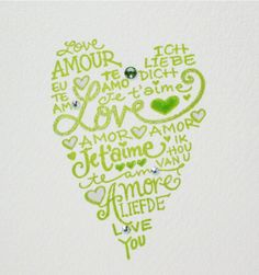 Green and white love languages heart card ... $4.95, via Etsy.