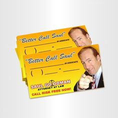 """Better Call Saul"" Business Cards http://www.breakingbadstore.com/better-call-saul-business-cards/details/28761346?cid=social-pinterest-m2social-product_country=US=share_campaign=m2social_content=product_medium=social_source=pinterest $12.95"