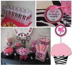 Pink candy station and water bottle labels. Cute and girly :) Zebra Birthday, Barbie Birthday Party, 40th Birthday Parties, Birthday Ideas, Kids Party Themes, Birthday Party Decorations, Party Ideas, Vintage Barbie Party, Barbie Decorations