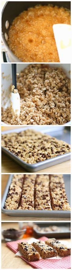 No bake choc chip granola bars. Uses oatmeal and rice krispies. Looks pretty easy and my kids inhale granola bars. 1/12 Yummy and easy. As i...