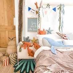 Seaside bedroom decor for gender neutral theme. Under the sea kids room with cool lobster and whale Sea Bedrooms, Seaside Bedroom, Kids Bedroom, Ocean Themed Nursery, Sea Nursery, Nautical Nursery Decor, Nursery Art, Nursery Design, Bedroom Themes