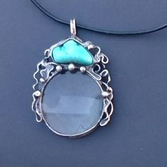 Metal necklace with Gemstone Howlit  and magnifying glass. Pendant is handmade.Tiffany technique, Healing Stone, jewellery . by Helenamode on Etsy