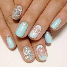 Mermaid Nails Shells and Rhinestones super soft light blue - awesome.