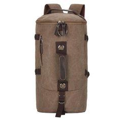 Bolsas Mochila Feminina 2017 New Brown canvas Women's Backpack Fashion Brand Barrel-shaped backpack Female School Backpacks Gym Backpack, Hiking Backpack, Travel Backpack, Fashion Backpack, Bucket Backpack, Canvas Travel Bag, Travel Bags, Canvas Bags, Travel