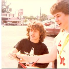 Angus Young with a fan - AC/DC in USA, Springfield, Armony, 1979/05/18