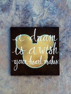 Gold Mickey Mouse A Dream is a Wish Your Heart Makes by TheRusticViolet $30