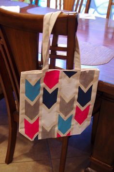 Chevron canvas tote bag hand painted with fabric paint