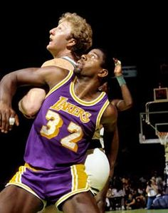 Larry Bird and Magic Johnson NBA finals 1985.