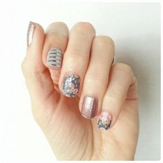 Gray and Silver Stripe, Dusty Floral, and Rose Gold Sparkle Jamberry nail wraps…