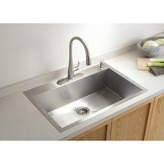 KOHLER Vault Top-Mount/Undermount Stainless Steel 33 in. 4-Hole Single Bowl Kitchen Sink-K-3821-4-NA - The Home Depot