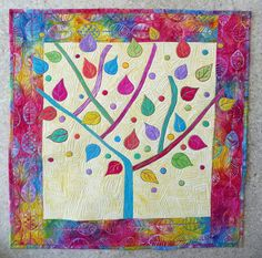 "Contemporary Wall Hanging ART Quilt Hand Dyed and Batik Fabric "" LOLLIPOP TREE"""