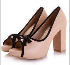 New Fashion Bowknot Color Matched Pump Built in Rough Heel on BuyTrends.com, only price $22.92