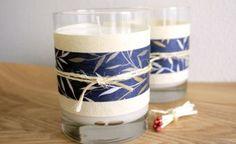 Velas en vasos decorados con papel
