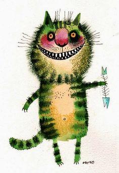 Nastassia Ozozo cat fish illustration