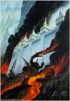 The Fall of Gondolin - John Howe With the remnant of the people of Gondolin Tuor escaped the sacking of the city by a secret way contrived by Idril, encountering a Balrog in the mountain heights; saved but by the valour of Glorfindel, chief of the House of the Golden Flower.