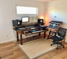 This Custom Wood Studio Recording Desk is just one of the custom, handmade pieces you'll find in our desks shops. Studio Desk Music, Home Recording Studio Setup, Music Desk, Home Studio Setup, Studio Ideas, Home Music Rooms, Trendy Home, Bars For Home, Custom Wood