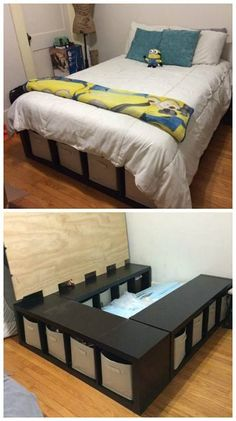16 Gorgeous DIY Bed Frames Diy storage bed and DIY storage