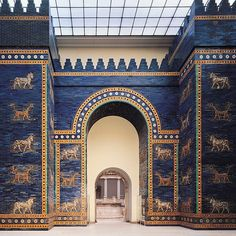 Ishtar Gate (restored), Babylon, Iraq, ca. 575 BCE.    Babylon under King Nebuchadnezzar II was one of the greatest cities of the ancient world. Glazed bricks depicting Marduk's dragon and Adad's bull decorate the monumental arcuated Ishtar Gate.