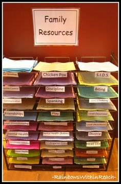 Family Resource Center (idea to put near sign-in area of preschool): Encourages family education and can be helpful for teacher when parent's have questions