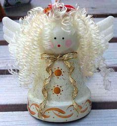 Christmas clay flower pot crafts - MMR Home Christmas Clay, Christmas Ornament Crafts, Christmas Angels, Christmas Projects, Holiday Crafts, Christmas Decorations, Spanish Christmas, July Crafts, Birthday Decorations