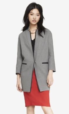 FAUX LEATHER TRIMMED HOUNDSTOOTH CAR COAT from EXPRESS