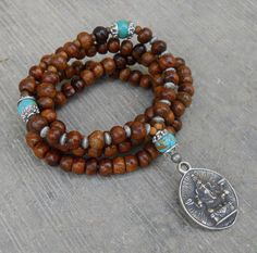 Success, 108 Wood prayer beads and turquoise gemstone with Ganesh pendant, wrap bracelet or necklace