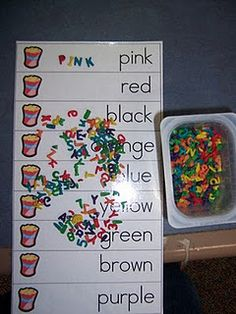 Literacy Work Stations  - but also good for some sensory-motor as well, especially if this is put on a vertical surface and the letters are lower (so there is bending and stretching incorporated) - the kids can also pick up a handful of letters to hold in one hand and serach with the other so that is a good in-hand manip task too - sorting and organizing  - and so on, an overall good activity :)