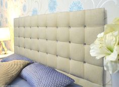 Luxury Tufted FLORIDA Chenille Fabric Diamante Headboards Queen Size Bed Home