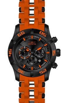 Invicta 21822 Men's Watch Sea Spider Orange Strap Chronograph Black Dial
