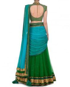Green and blue party wear chaniya choli – Panache Haute Couture Lehenga Saree Design, Half Saree Lehenga, Lehnga Dress, Saree Look, Lehenga Designs, Saree Blouse Designs, Lehenga Blouse, Half Saree Designs, Choli Designs