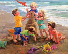 Galleries in Carmel California- Jones/Terwilliger - Corinne Hartley, Artist Painting People, Painting For Kids, Painting & Drawing, Carmel California, Baby Clip Art, Beach Artwork, Beach Kids, Artist Gallery, Pictures To Paint