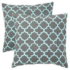 "Set of two quatrefoil pillows.   Product: PillowConstruction Material: Cotton cover and polyester fillColor: Charcoal and blueFeatures:  Insert includedHidden zipper closureTwo color printing details Dimensions: 18"" x 18""Cleaning and Care: Hand wash or machine wash in cold water. Lay flat to dry."