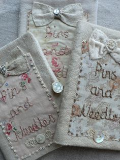 Needlebooks by Gentlework very inspirational site! She makes great use of vintage linens: Needlebooks by Gentlework very inspirational site! She makes great use of vintage linens Ribbon Embroidery, Embroidery Stitches, Embroidery Patterns, Tatting Patterns, Fabric Crafts, Sewing Crafts, Sewing Projects, Sewing Kits, Needle Case