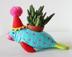 Hand painted party manatee planter desk by JulieJohnsonGallery