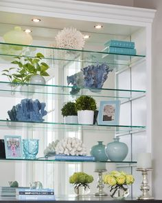 Beautiful bookshelf styling by Emily Ruddo of Armonia Decors! Love the coral! - Home Professional Decoration Glass Bookshelves, Bookcase With Glass Doors, Wall Shelves, Bookcases, Shelving, Barrister Bookcase, Glass Shelves In Bathroom, Floating Glass Shelves, Mirror Glass