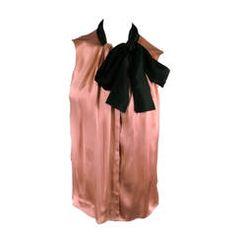 2006's LANVIN Size 4 Rose Satin Dress Top with Black Tie