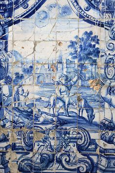 Lisboa, Lisbon, Portugal. Typical portuguese tiles. Beautiful and blue.