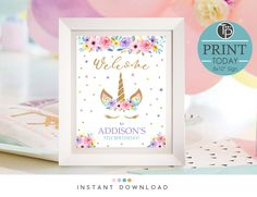 Printable Unicorn Welcome Sign Unicorn Printables, Party Printables, Rainbow Unicorn Party, Unicorn Invitations, Photo Store, 3rd Birthday, Welcome, Party Themes, Birthdays