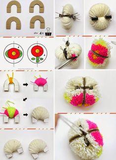 """Képtalálat a következőre: """"pom pom nyúl"""" Crafts For Teens To Make, Crafts To Sell, Diy And Crafts, Arts And Crafts, Pom Pom Crafts, Yarn Crafts, Pom Pom Animals, Pom Pom Rug, Pom Pom Flowers"""