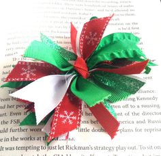 Christmas Snowflake Spike Hair Bow by LaleePops82 on Etsy