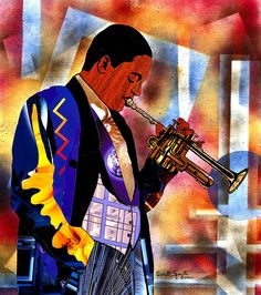 Jazz Icon Wynton Marsalis this work is a mixed media collage of magazine pages and spray paint.  cget prints on paper, canvas or metal here......http://everett-spruill.artistwebsites.com/featured/wynton-marsalis-2000-everett-spruill.html