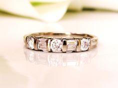 Elegant Round & Baguette Diamond Wedding Band 0.40ctw Diamond Wedding Ring 14K White Gold Anniversary Ring Diamond Stacking Ring Size 6.5 by LadyRoseVintageJewel on Etsy