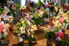 lots of jam jar posies ready to dress long trestle tables at the fete champetre.  all grown, cut and tied by @Common Farm Flowers at www.commonfarmflowers.com
