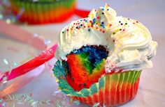 Rainbow Color Cupcake with Cream and Bunties