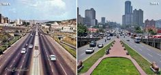 Av. Bolívar (1960's-2000's) Retro, Red Roof, Caracas, Venezuela, Cities, Retro Illustration