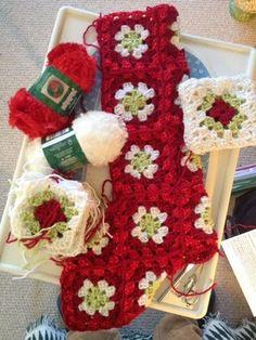Teacup Lane's Granny Square Christmas Stockings work in progress